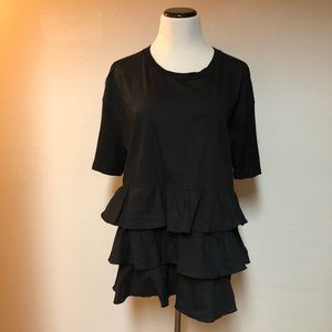 Pleione NEW Black Size XL Tiered Ruffled  Blouse